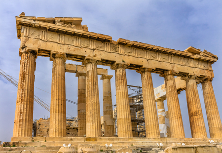 Parthenon Acropolis Athens Greece.  Parthenon is Temple to Athena on the Acropolis.  Temple created 438 BC and is symbol of ancient Greece.