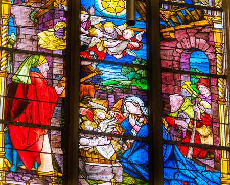 Mary Nativity Wise Men Stained Glass All Saints Castle Castle Church Schlosskirche Lutherstadt Wittenberg Germany. Where Luther posted 95 thesis 1517 starting Protestant Reformation.