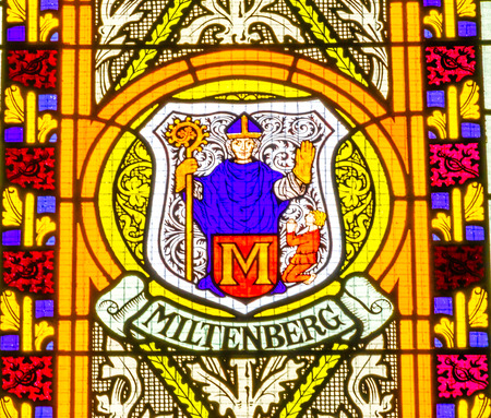 Miltenberg Coat of Arms Stained Glass All Saints Castle Castle Church Schlosskirche Lutherstadt Wittenberg Germany. Where Luther posted 95 thesis 1517 starting Protestant Reformation.