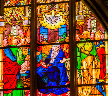 Mary Holy Spirit Wise Men Stained Glass All Saints Castle Castle Church Schlosskirche Lutherstadt Wittenberg Germany. Where Luther posted 95 thesis 1517 starting Protestant Reformation. Sajtókép