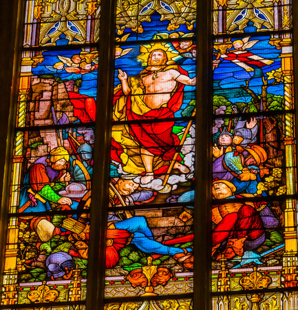 Risen Jesus Christ Resurretion Stained Glass All Saints Castle Castle Church Schlosskirche Lutherstadt Wittenberg Germany. Where Luther posted 95 thesis 1517 starting Protestant Reformation.