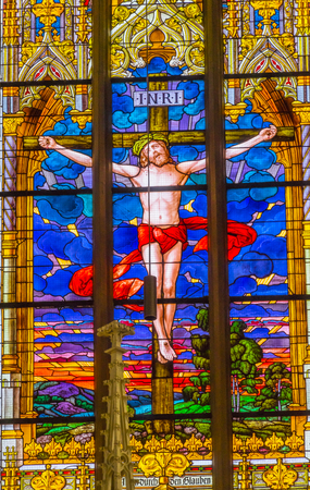 Jesus Christ Crucifixion Stained Glass All Saints Castle Castle Church Schlosskirche Lutherstadt Wittenberg Germany. Where Luther posted 95 thesis 1517 starting Protestant Reformation. Sajtókép
