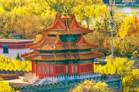Arrow Watch Tower Palace Wall Autumn Gugong Forbidden City Palace Beijing China. Emperors Palace Built in the 1600s in the Ming Dynasty