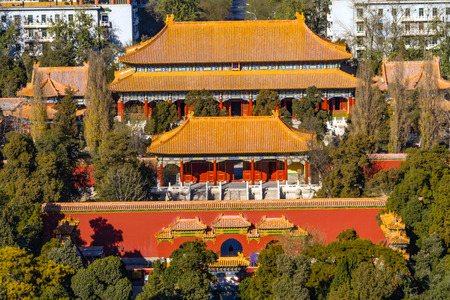 Jingshan Park Looking North at Drum Tower Many Pavilions Beijing, China. Part of the Forbidden City, later a separate park, built in 1179.