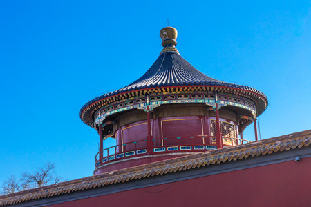 Red Pavilion Wall Jingshan Park Beijing, China. Part of the Forbidden City, later a separate park, built in 1179. Editorial
