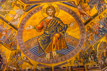 Jesus Christ, Jesus, Christ Angels Biblical Stories Mosaic Dome Bapistry Saint John Duomo Cathedral Church Florence Italy. Bapistry created 1100s, mosaics by Jacobus 1200s. Редакционное