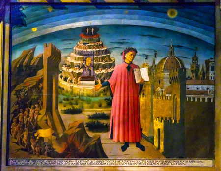 Domenico di Michelino Dante Divine Comedy Painting Duomo Cathedral Santa Maria del Fiore Church Florence Italy. Painting created 1465