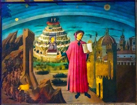 Domenico di Michelino Dante Divina Comedia Pintura Catedral Duomo Iglesia Santa Maria del Fiore Florencia Italia. Pintura creada 1465