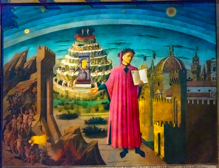 Domenico di Michelino Dante Divine Comédie Peinture Duomo Cathedral Santa Maria del Fiore Church Florence Italie. Peinture créée 1465