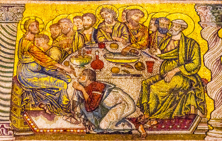 Jesus Christ Last Supper Mosaic Dome Bapistry Saint John Duomo Cathedral Church Florence Italy. Bapistry created 1050 to 1150, mosaics by Friar Jacobus in 1200s.