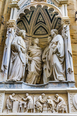 Four Crowned Saints Martyrs Statue Orsanmichele Church Florence Italy. Statue by Nanni di Banco 1408 for Stone Masons 写真素材
