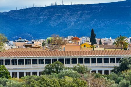 Ancient Agora Market Place Stoa of Attalos Athens Greece. Agora founded 6th Century BC. Stoa built in 150 BC, rebuilt early 1950s Banco de Imagens