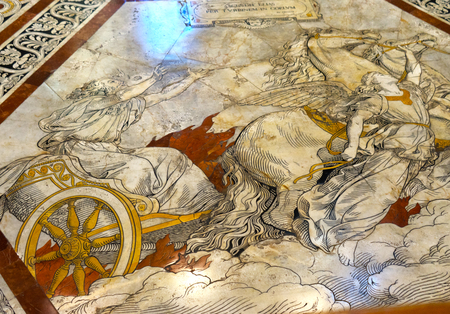 Ezekiel Chariot Marble Mosaic Floor Nave Cathedral Church Siena Italy. Cathedral completed from 1215 to 1263.