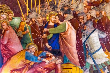 Judas Christ Kiss Jesus Christ Medieval Renaissance Fresco Collegiate Church of Santa Maria Assunta San Gimignano Tuscany Italy  From the 1400s
