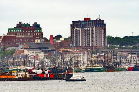 Foggy Morning Fishing Fleet Whaling Museum Sailboat New Bedford Harbor Buzards Bay Massachusetts United States. Editorial