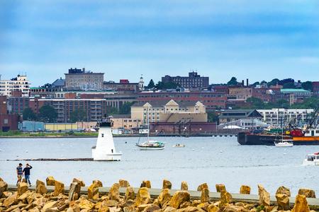 Breakwater Entrance Lightouse New Bedford Harbor Sailboats Buzzards Bay Massachusetts United States. Stock Photo