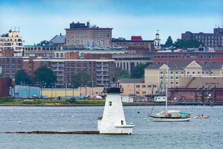Lighthouse Sailboats New Bedford Harbor Buzards Bay Massachusetts United States. Stock Photo