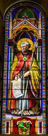 Saint Bernard Stained Glass Baptistery of Saint John Piazza del Miracoli Cathedral Pisa Tuscany Italy. Completed in 1363. Saint Bernard helped end schism church.
