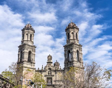 San Hipolito Church Mexico City Mexico. On the Reforma Avenue, established 1521. Dedicated to Saint Judas Tadeo of Lost Causes Stock Photo