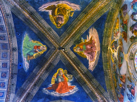 Four Gospel Writers Ceiing Fresco Altar Santa Maria Novella Church Florence Italy. First Church in Florence founded 1357