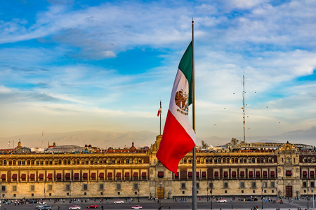 Mexican Flag Presidential National Palace Balcony Monument Zocalo Mexico City Mexico. Palace built by Cortez in 1500s. Balcony where Mexican President Appears.