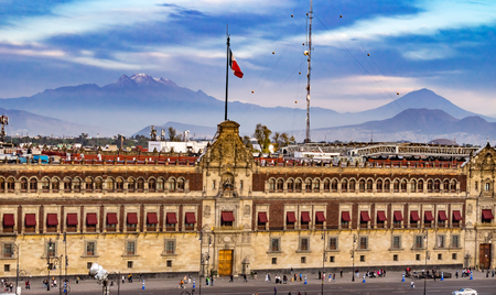 Presidential National Palace Balcony Snow Mountain Monument Zocalo Mexico City Mexico. Palace built by Cortez in 1500s. Balcony where Mexican President Appears.