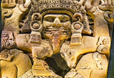 Ancient Aztec God Stone Statue Templo Mayor Mexico City Mexico. Great Aztec Temple created from 1325 to 1521 when Cortez destroyed Aztec temple Redactioneel