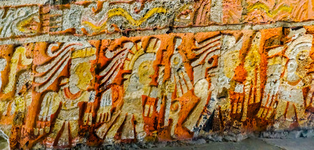 Ancient Carvings Aztec Eagle Warriors Palace Templo Mayor Mexico City Mexico. Great Aztec Temple created from 1325 to 1521  Stock Photo