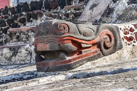 Ancient Aztec Snake Stone Statue Templo Mayor Mexico City Mexico. Great Aztec Snake Temple created from 1325 to 1521