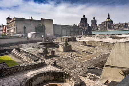 Metropolitan Cathedral Templo Mayor Zocalo Mexico City Mexico. Aztec Temple created from 1325 to 1521. Temple stones used to create cathedral.