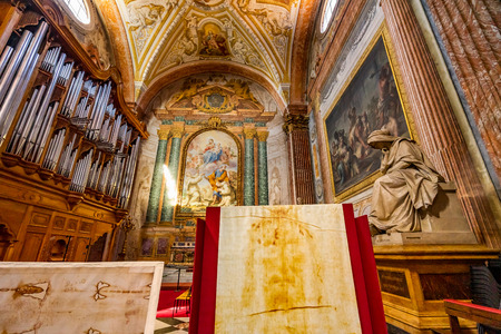 Sudarium Jesus Face Cloth Basilica Saint Mary Angels and Martyrs Rome Italy. Church designed by Michelangelo 1560 from Emperor Diocletian Baths