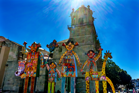 Facade Statues Towers Our Lady of Assumption Cathedral Church Oaxaca Juarez Mexico. Construction started 1533