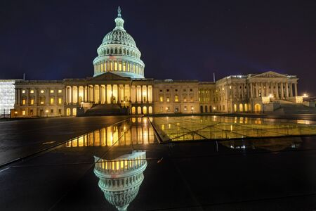 Reflection US Capitol North Side Congress House Representatives Senate Capital City Night Stars Washington DC Banco de Imagens