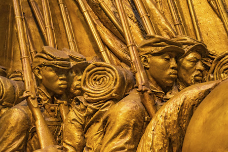 African American soldiers, 54th Massachusetts First Black Regiment Union Civil War Monument Model Smithsonian Institution Washington DC. Augustus Saint Gaudens dedicated 1847 Editorial