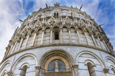 Dome Baptistery of Saint John Piazza del Miracoli Cathedral Pisa Tuscany Italy. Completed in 1363. Next to Leaning Towerr of Pisa.
