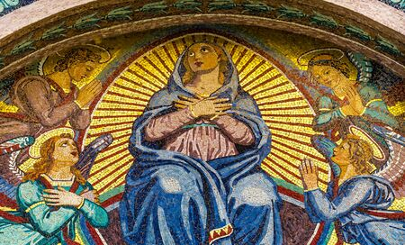 Virgin Mary Angels Mosaic Facade Cathedral of Virgin Mary Piazza del Miracoli Pisa Tuscany Italy. Completed in 1100s.