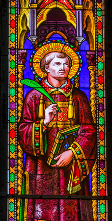Saint Stephen Protomartyr First Christian Martyr Stoned to Death Stained Glass Baptistery of Saint John Piazza del Miracoli Cathedral Pisa Tuscany Italy. Completed in 1363.