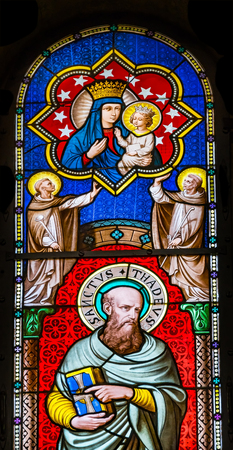 Saint Thadeus Jude Apostle Disciple Mary Jesus Stained Glass Baptistery of Saint John Piazza del Miracoli Cathedral Pisa Tuscany Italy. One of the 12 Disciples, Completed in 1363. Editorial