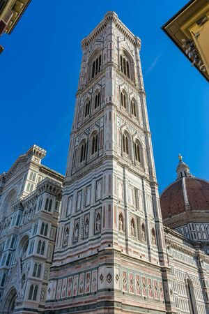 Campanile Bell Tower Duomo Cathedral Church Florence Italy.  Finished 1400s.  Formal name Cathedral di Santa Maria del Fiore. Stock Photo