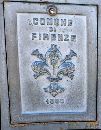Florentine Lily Fleur de Lis Flower Street Florence City Symbol Statue Italy Stock fotó