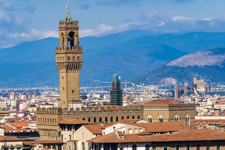 Orange Roofs Palazzo Vecchio City Hall Tower Hills Piazza Signoria Florence Tuscany Italy Stock Photo