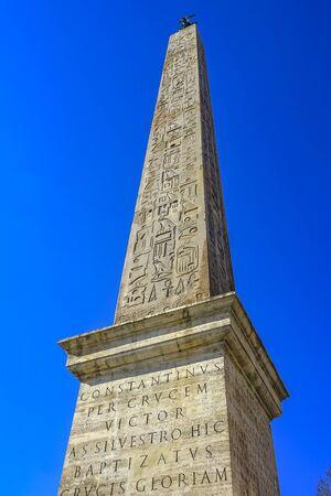 Egyptian Esquilino Obelisk Saint Maria Maggiore Church Rome Italy. Egyptian obelisk found in 1599 in Emperor Augustu Tomb. Stock Photo