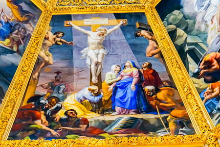Jesus Christ Crucifixion Painting Dome San Lorenzo Medici Church Florence Tuscany Italy. Family Church Medici Family