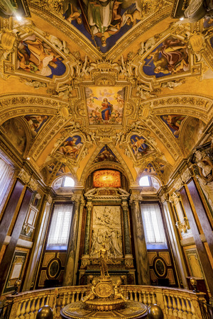 Golden Baptistry Ceiling Basilica Santa Maria Maggiore Rome Italy. One of 4 Papal basilicas, built 422-432, built in honor of Virgin Mary, became Papal residency before Vatican