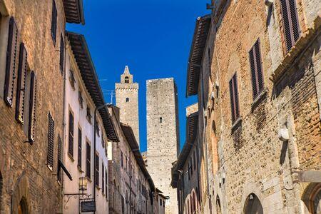 Medieval Narrow Street Buildings Cuganensi Towers San Gimignano Tuscany Italy