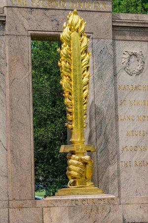 Golden Flaming Sword Second Division Memorial Presidential Park Washington DC.  Memorial was dedicated 1936. Flaming sword emphasizes defense of Paris from German attack.