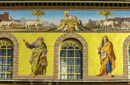 Disciples Lamb Mosaics Facade Papal Basilica Saint Paul Beyond Walls Cathedral Church Rome Italy. One of 4 Papal basilicas, established over Saint Paul's burial place in 324 by Emperor Constantine