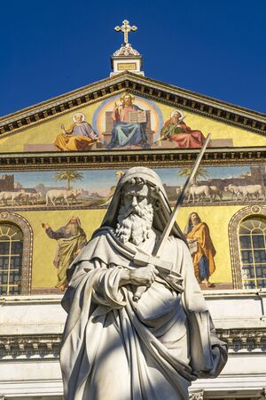 Saint Paul Statue Facade Papal Basilica Saint Paul Beyond Walls Cathedral Church Rome Italy. One of 4 Papal basilicas, established over Saint Paul's burial place in 324 by Emperor Constantine