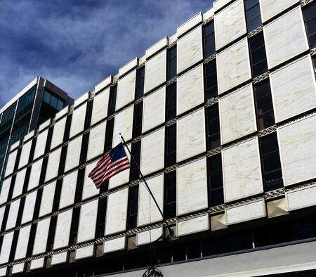Botschaft der Vereinigten Staaten Amerikanische Flagge Reforma Avenue Mexiko-Stadt Mexiko Standard-Bild