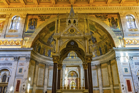 Ciborium Arch Paul Tomb Papal Basilica Saint Paul Beyond Walls Cathedral Church Rome Italy. One of 4 Papal basilbcas, established over Saint Paul's burial place in 324 by Emperor Constantine
